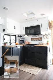 rv ideas renovations two toned black kitchen cabinets in rv kitchen renovation