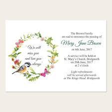 funeral phlets funeral announcement cards watercolour bird butterflies funeral