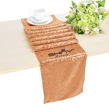 amazon com shinybeauty 14inx72in rose gold sequin table runner on