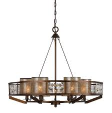 Forged Chandeliers Bronze Forged Iron Chandelier With Mica Crystals Wood 6 Lights