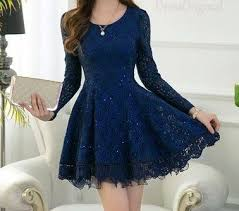 dress blue lace dress blue mini dress sleeved blue lace chiffon dress