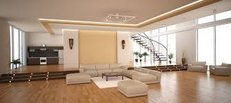 home element set up large modern living room staircase kitchen