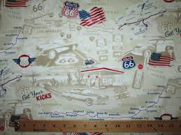 Fat Map Usa by Route 66 Map Usa Flag Cars Inlay Tan Cotton Fabric Fat Quarter Or