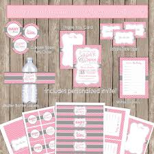 pink and grey baby shower sugar and spice baby shower invitation package pink gray