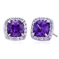 purple stud earrings accent 14k white gold cushion cut violet color cubic