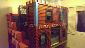 The Brick Bunk Beds Brown Brick Paint Wooden Castle Bunk Beds With Stairs And