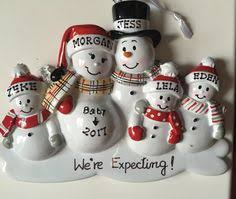 personalized christmas ornament pregnant snowman couple with dog