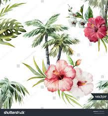 Palm Tree Wallpaper Watercolor Vector Hawaii Tropical Palm Tree Stock Vector 254057452