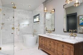 Mirrored Subway Tile Backsplash Bathroom Transitional With by Gray Herringbone Tile Backsplash With White Dual Bath Vanity