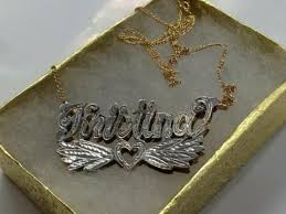 3d Nameplate Necklace Personalized 14k Gold Overlay Double 3d Any Name Plate Necklace