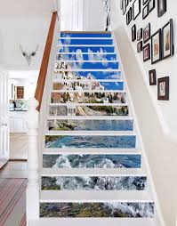 3d sky house sea stair risers decoration photo mural vinyl decal