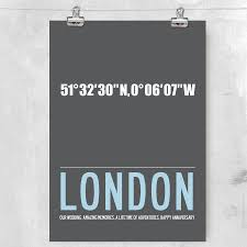 Coordinates Map Personalised City Map Coordinates With Your Text By I Love Art