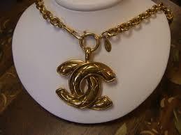 vintage long gold necklace images Chanel huge long vintage chanel gold tone chain necklace cc logo jpg