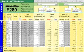 Hvac Load Calculation Spreadsheet by Right F280