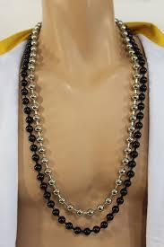 black jewelry necklace images Black silver metal balls chain long fancy necklace hip hop new men jpg