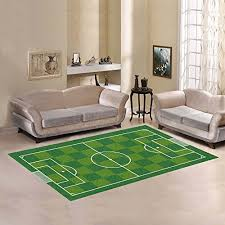Football Field Rug For Kids Easy Clean Stain Fade Resistant For Living Room Bedroom Kitchen