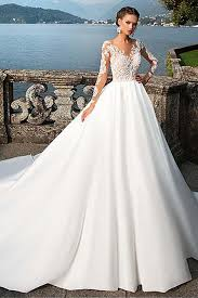 white wedding gowns satin bateau neckline a line wedding dresses with lace appliques