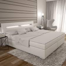 Schlafzimmer Bett Mit Led Dalian Boxspringbett 180x200 Cm Weißes Polster Bett In Leder