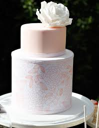 cake inspiration peach and white wedding cake