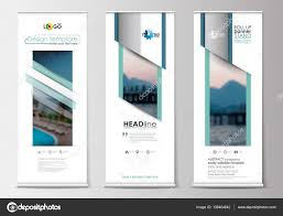 Stand Up Flag Banners Roll Up Banner Stands Flat Design Abstract Geometric Templates