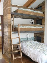 Wooden Bunk Bed Ladder Plans triple bunk beds in kids rustic with cool bed next to triple bunk