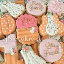 vera joyce little pumpkin first birthday decorated cookies