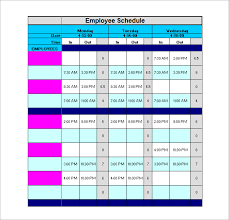 staff schedule template u2013 8 free sample example format download