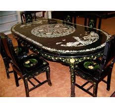 inlaid dining table and chairs mother of pearl dining table dining room ideas
