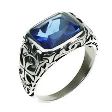 natural rings images Real pure 925 sterling silver rings for men blue natural crystal jpg