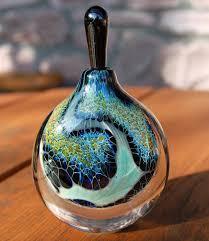 silver perfume bottle veil by robert burch blown and artist