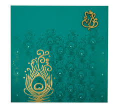 Designing Invitation Cards Hindu Marriage Invitation Card In Turquoise Blue Peacock Design