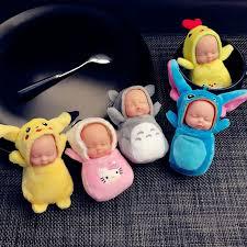 baby keychain 9 5 5cm kawaii totoro keychain pompom sleeping baby doll key chain