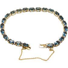 blue topaz bracelet gold images Vintage 14 karat yellow gold blue topaz and diamonds oval london jpg