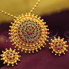 gold plated fashion necklace images Ps0648 indian fashion jewelry gold plated kempu temple stones JPG