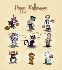 halloween characters vector illustration royalty free stock image