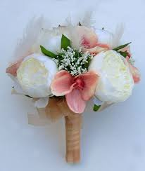 Orchid Bouquet Ivory Feather Cream Silk Peony U0026 Pink Orchid Bridal Wedding