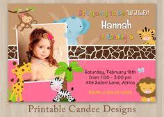 girls pink jungle safari birthday invitation boy twins jungle