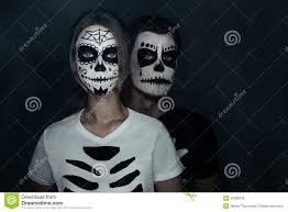 couple in costumes of skeletons stock photo image 46088318