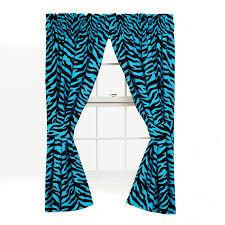 Leopard Curtains Pair Of Black U0026 Blue Zebra Drapes With Tiebacks 84 X 63