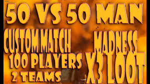 pubg 50 vs 50 server pubg 50 man vs 50 man custom match madness playerunknown s