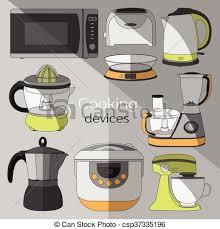 appareils de cuisine appareils cuisine ensemble icônes machine ensemble vecteurs