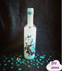 decoupage bottle with rice paper and turquoise diy ideas