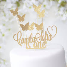 name cake topper enchanted garden butterfly or hearts and personalized name cake