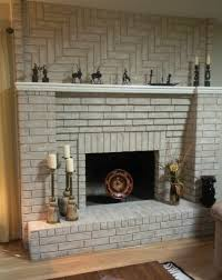 painted brick fireplace with white red color curved brick stone