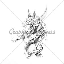 sketch of tattoo art monster gl stock images