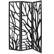 mygift wood tree silhouette 3 panel screen decorative