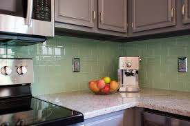 Backsplash Subway Tiles For Kitchen Kitchen Style Stainless Steel Gas Range Awesome Surf Green Glass