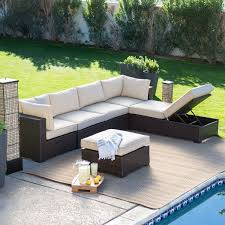 Hampton Bay Sectional Patio Furniture - outdoor wicker resin 6 piece sectional sofa patio furniture