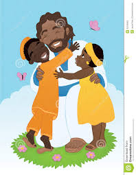 african jesus with children stock photo image 42193563