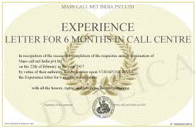 Experience Letter India experience letter for 6 months in call centre